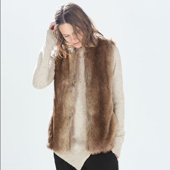 ZARA FAUX FUR MEDIUM COZY FALL VEST